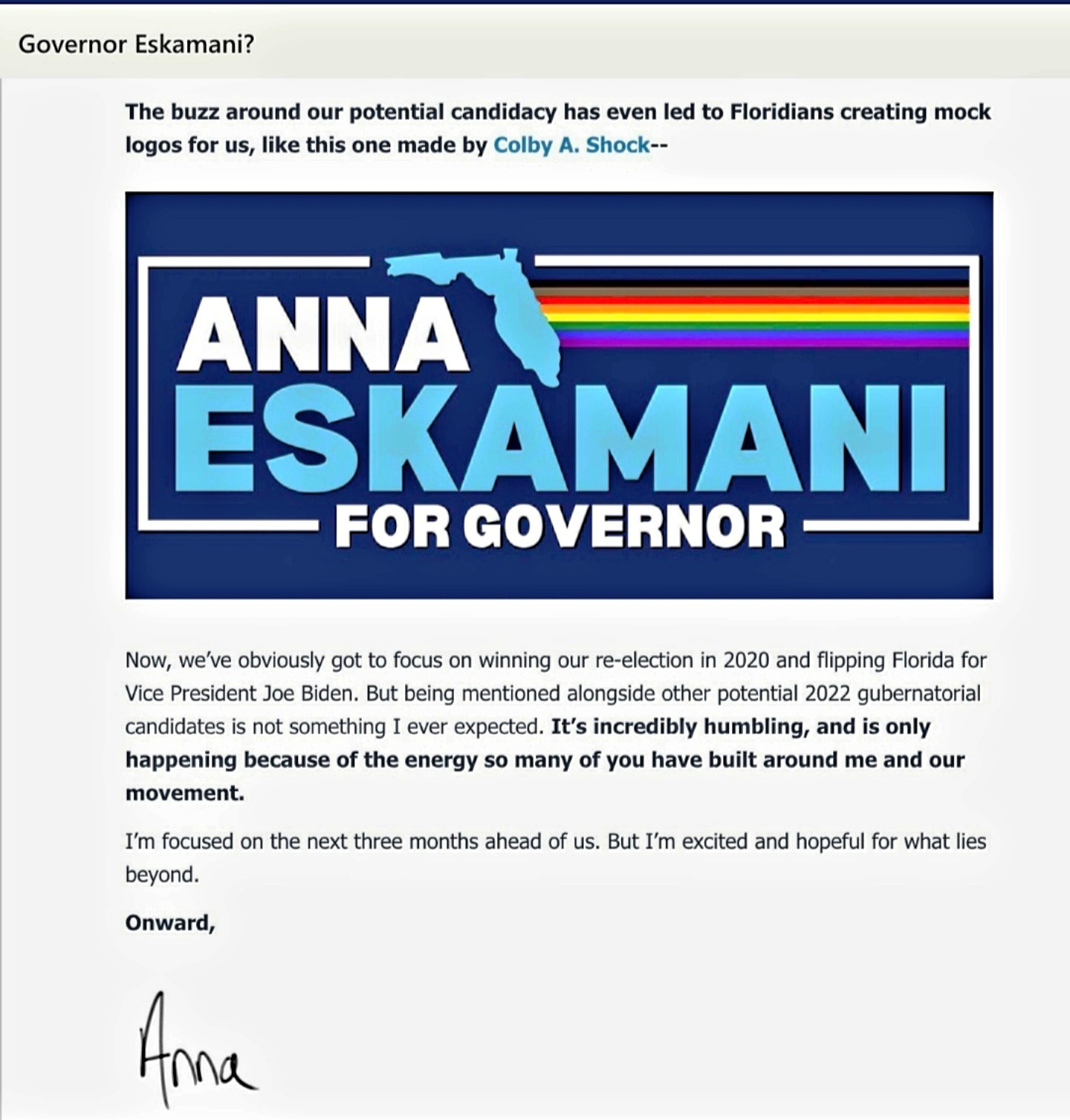 Eskamani for Governor?