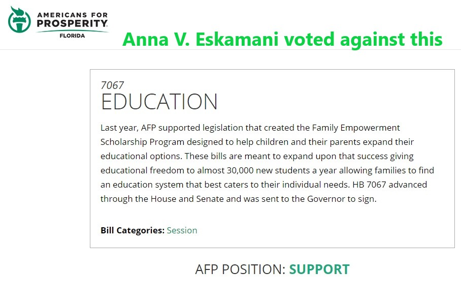 Empowerment Scholarship - Anna V. Eskamani voted against it.