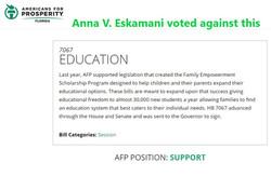 Empowerment Scholarship - Anna V. Eskamani voted against it.