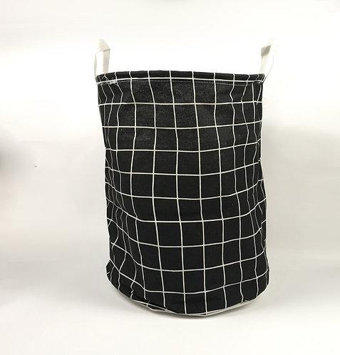 Canasto de tela Organizador cuadros blanco y negro