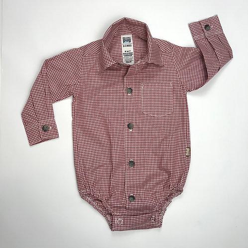 Body camisa bebé cuadros rojo