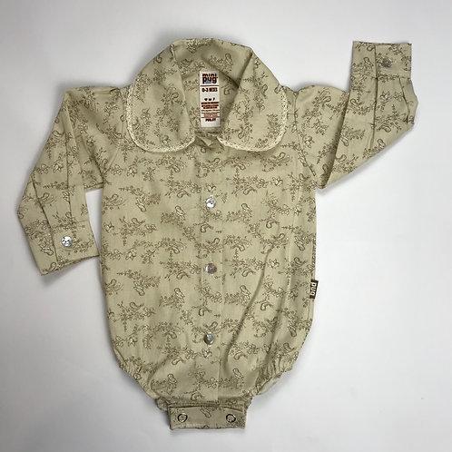 Body camisa  para bebé cuello con puntilla