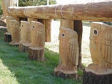 Chainsaw carvings owls Blenheim Palace International Horse Trials