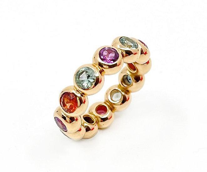 Ring Bobbles 6 mit Spinellen, Granaten & Saphiren