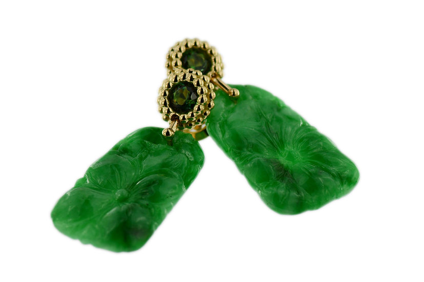 Ohrstecker mit grünen Turmalinen & grünen Jadeiten