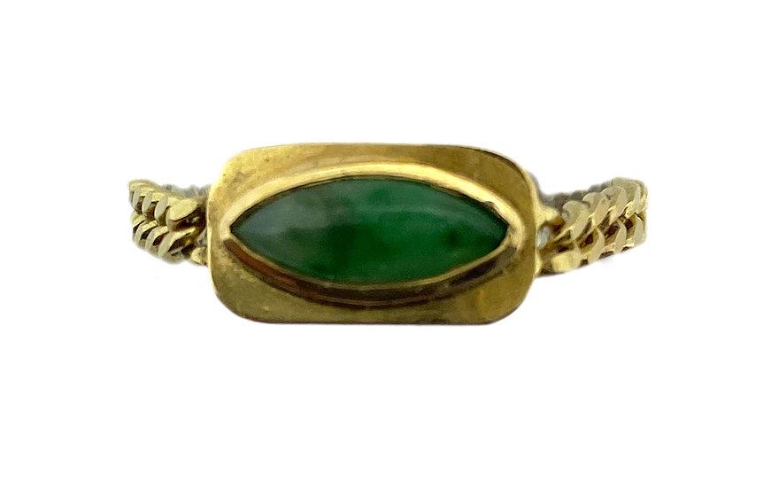 Ketten Ring Jadeit Navette