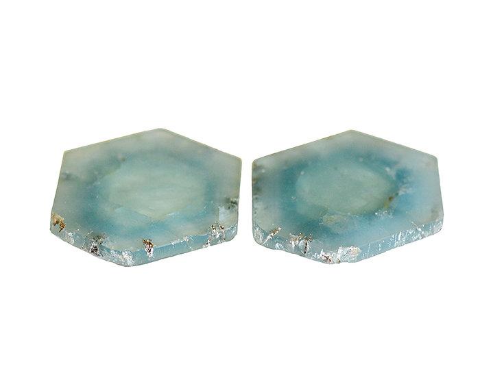 Paar Aquamarin Querschnitte