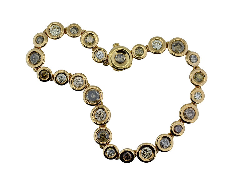 Tennisbracelet // 25 Brillanten // yellow - white - brown