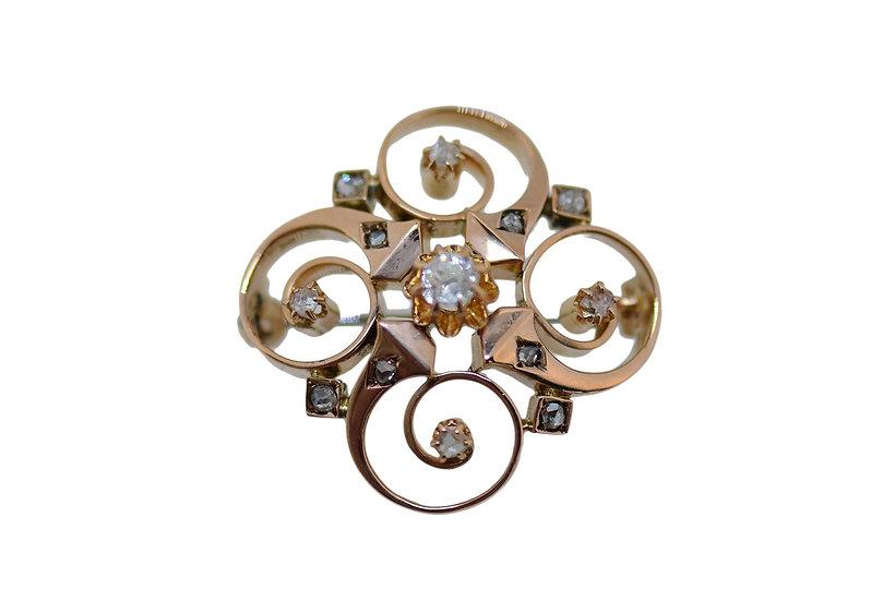 Brosche // Rotgold 750 // Altschliff & 8-kant Diamanten