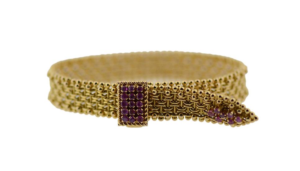 Geflochtenes Gold Armband mit Rubinen
