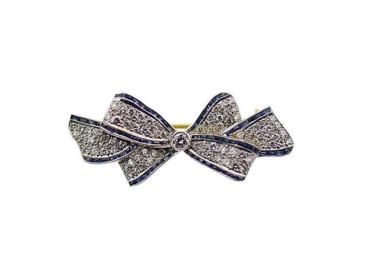 """Brosche """"Masche"""" mit Diamanten & Saphiren blau"""