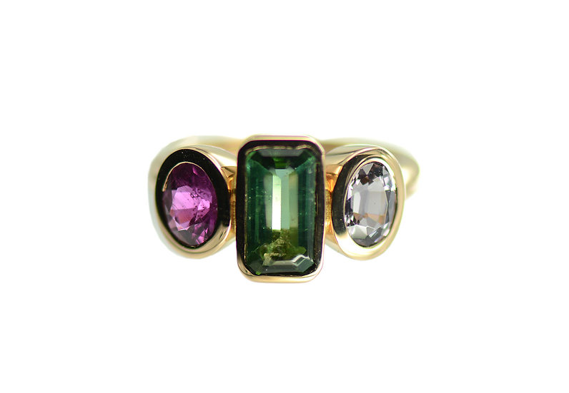 Ring Triple, Turmalin grün, Rubin, Spinell