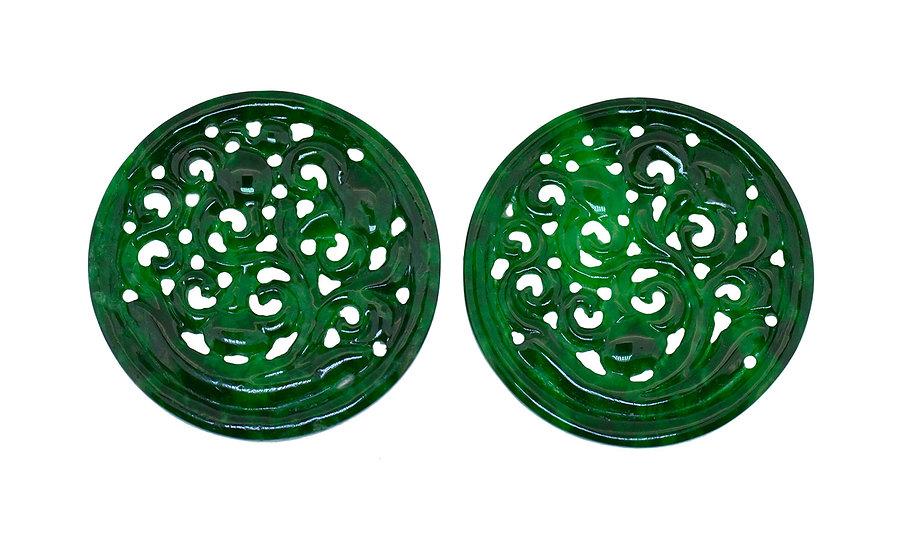 Paar Platten, Jadeit, graviert, rund, grün