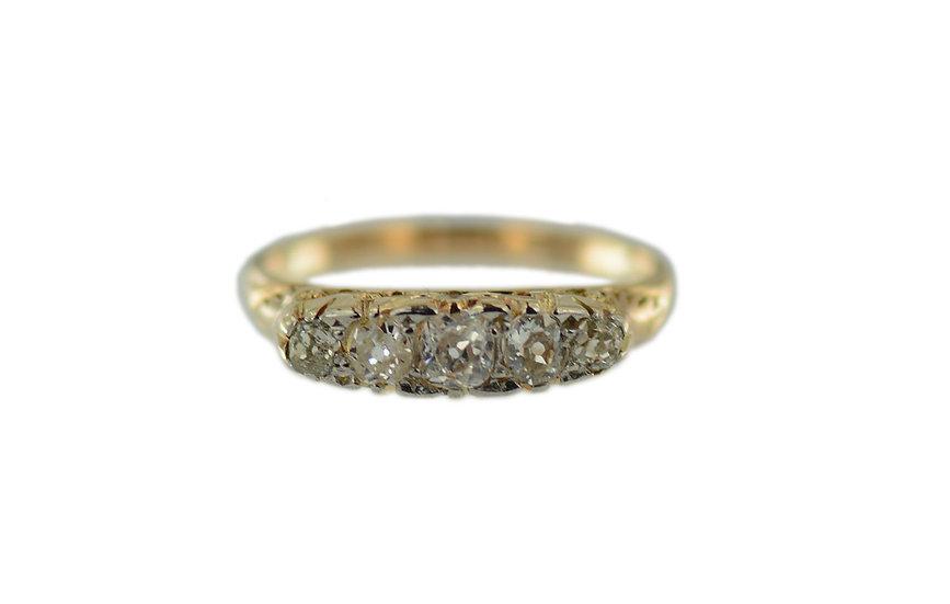 Ring mit 5 Altschliff Diamanten