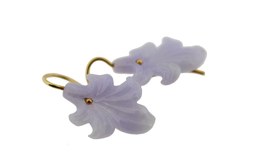 Ohrhänger // Lavendel Jade graviert, Tupen