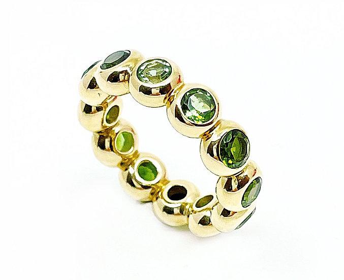 ring Bobbles6 mit grünen Turmalinen