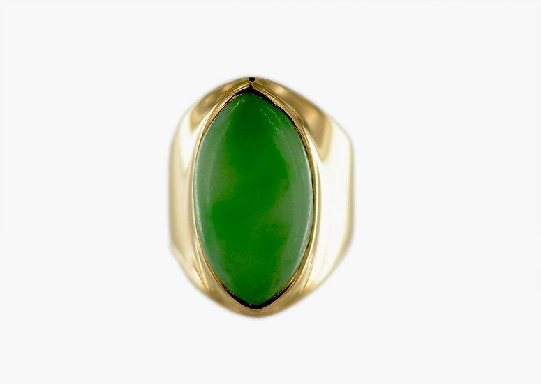 Gelbgold Ring mit Jadeit