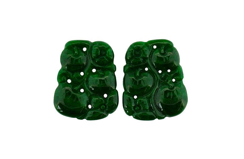 Paar Grüne, gravierte Jadeit Platten