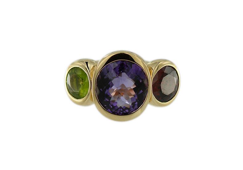 Ring mit Amethyst, Peridot & Granat