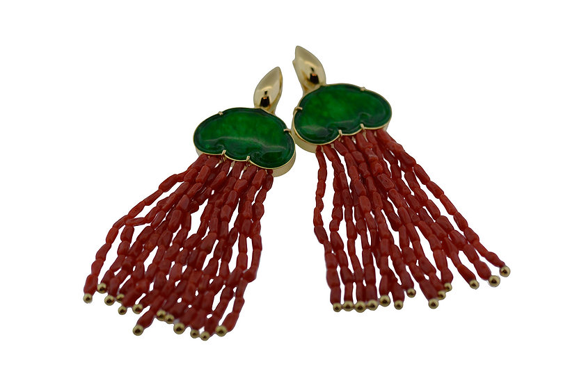 """Ohrschmuck """"Oriental"""", Jadeit grün, Koralle"""