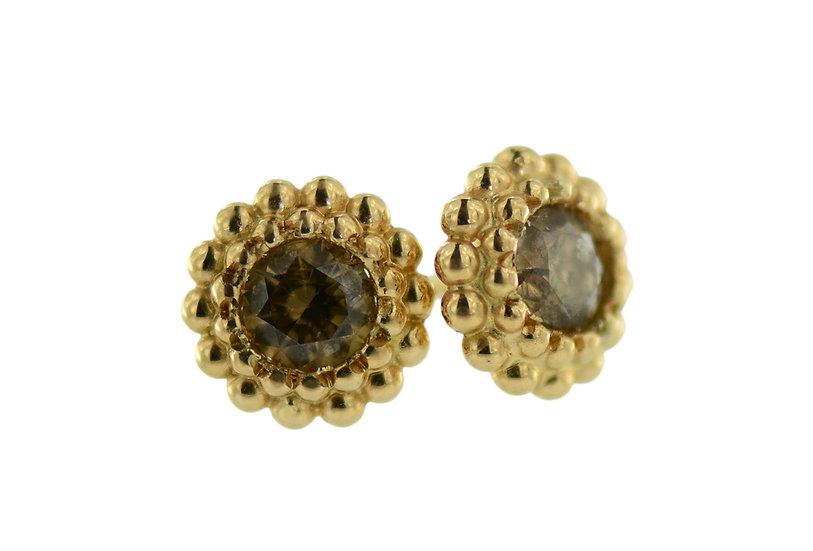 Ohrstecker Bobbles mit braunen Diamanten