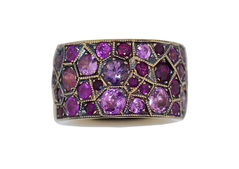 "Ring ""HoneyComb"", Saphire pink"