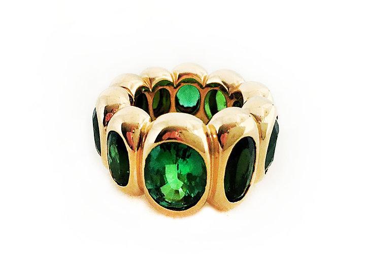 Ring mit Turmalinen, grün