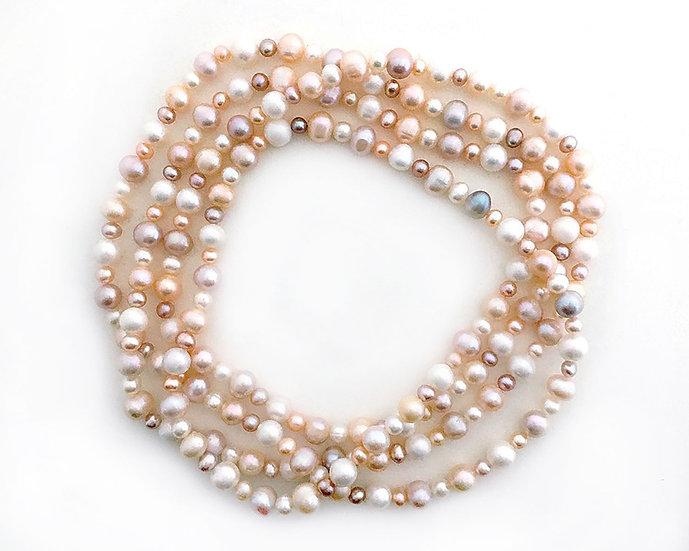 Perlen Collier Rosa - Weiss