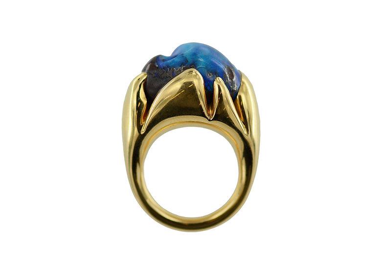 Ring Artischocke // Gelbgold 750 // Boulder Opal,