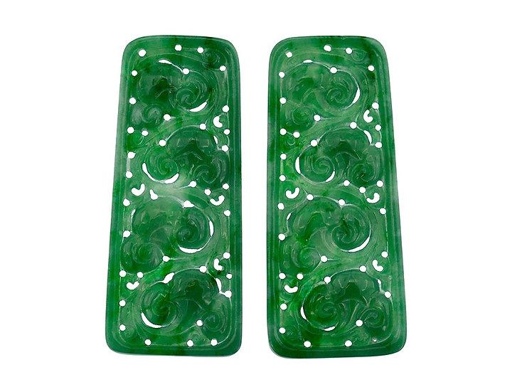 Paar Jadeit Rechtecke, grün, graviert