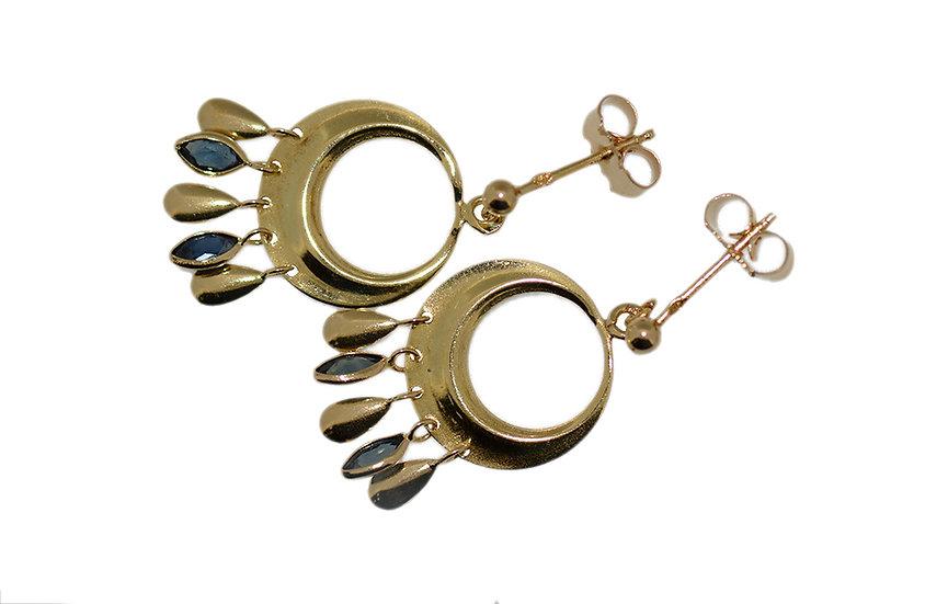 """Ohrhänger """"Orient"""" mit Saphir Navetten blau, Gelbgold 750"""