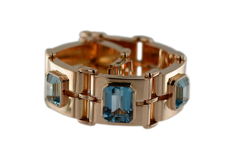 Art Deco Armband mit Topasen in Rotgold
