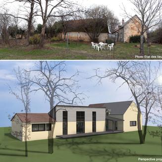 Surélévation et réhabilitation de granges en ruines et transformation en maisons d'habitation avec liaison couverte