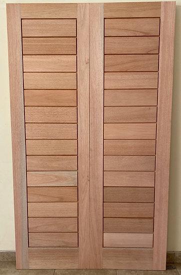 Horizontal Slatted Double Doors