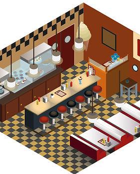 Riverdale Pop's Diner Isometric Illustration