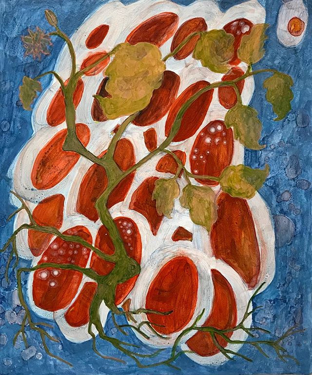 "Untitled Tomatoes  2019 Acrylic on panel  8"" x 9.5"""