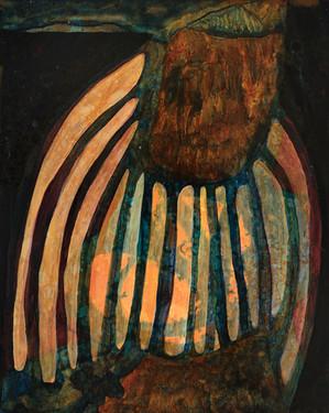"Untitled 2020 Acrylic on wood panel 8"" x 9.5"""