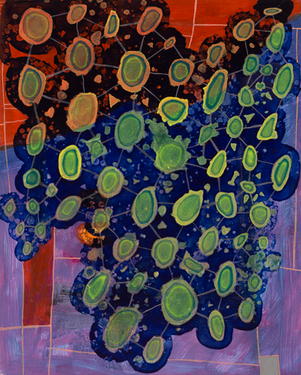 "Untitled 2019 Acrylic onn panel 8"" x 8.5"""