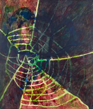 "Wolf Spider 2018 Acrylic on wood panel 22"" x 24"""