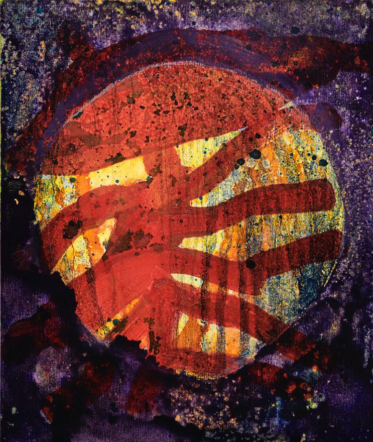 "Fungi man 2020 Acrylic on wood panel 8"" x 9.5"""