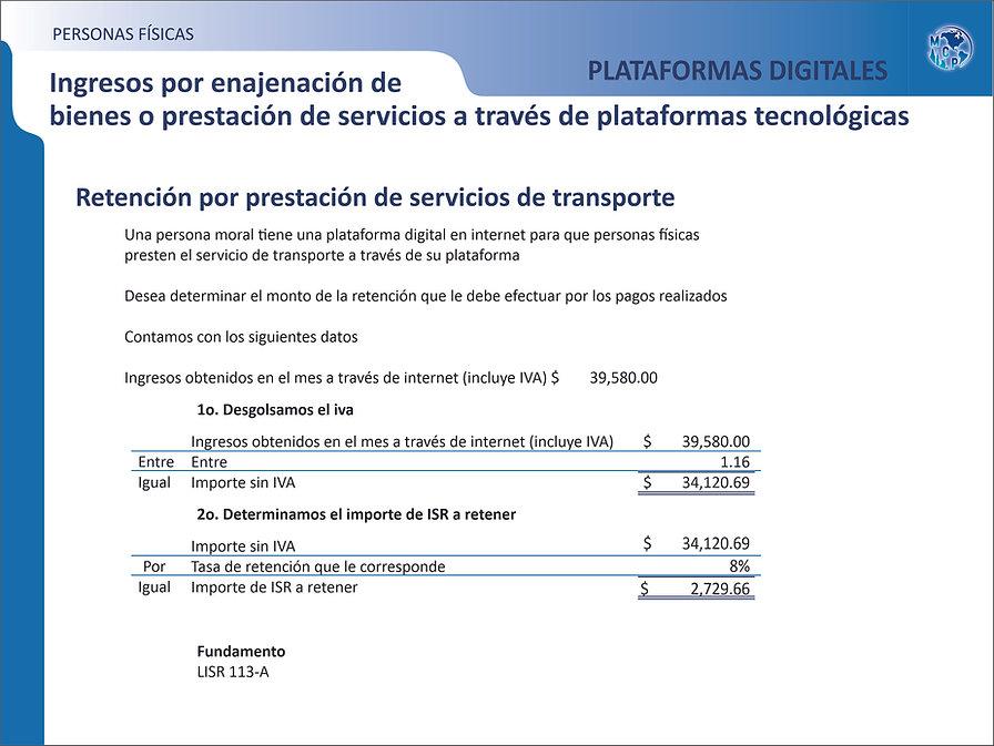 RETENCION X PRES DE SERV TRANS. PLAT DIG