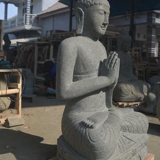 Greenstone Natural Sitting Buddha Angle