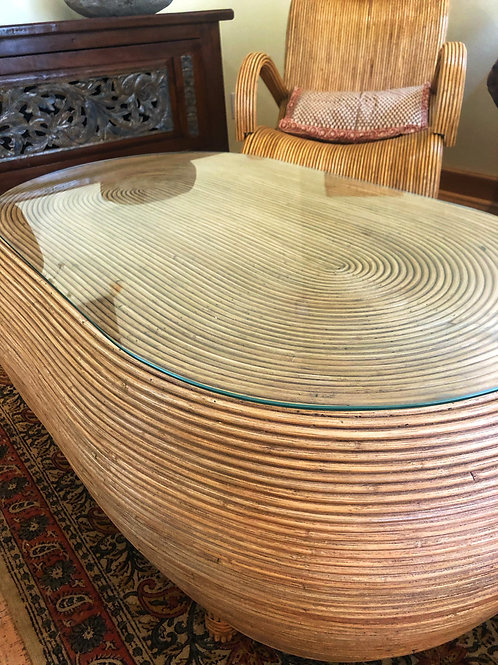 Rattan Coffee Table (w/ Glass)