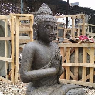 Greenstone Antique Sitting Buddha Angle