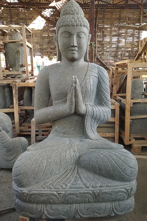 Javanese Sitting Buddha (Hand-Carved Natural Greenstone)