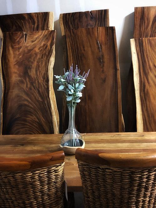Teak Bowl with Glass Vase