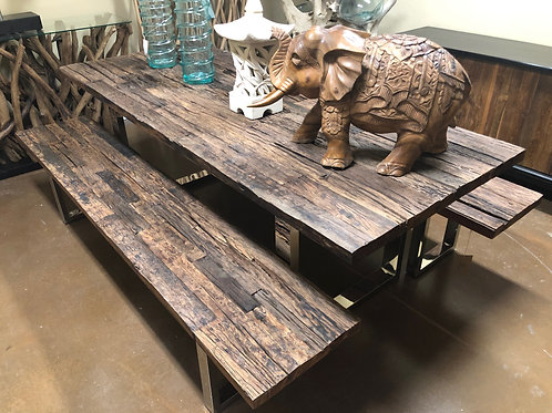 7' Ironwood Dining Table & Bench