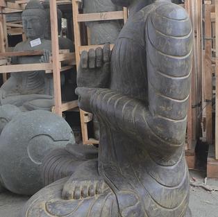 Greenstone Antique Sitting Buddha Side