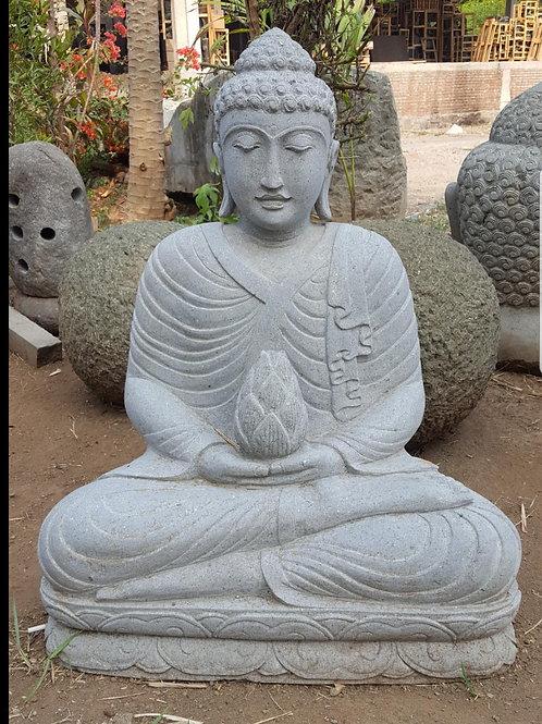 Lotus Flower Sitting Buddha (Fine Art Riverstone)
