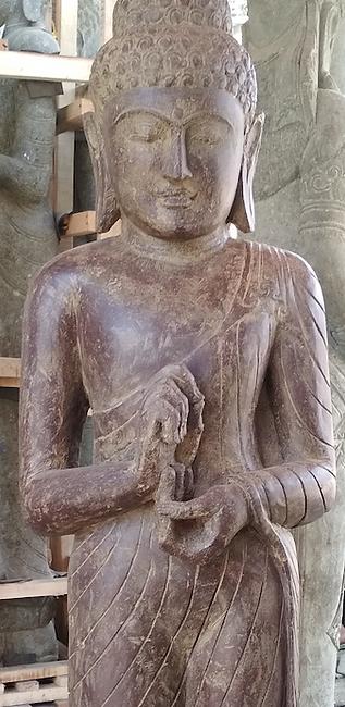 Antique Finish Standing Buddha - Cakra -